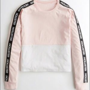 Hollister Colorblock Pink and White Crop Top